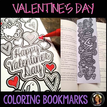 Valentine's Day Coloring Bookmarks