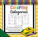 Coloring Categories - No Prep Worksheets