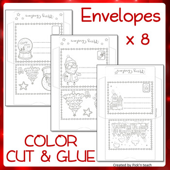 32 coloring Christmas cards + matching envelopes - CUT COLOR and GLUE