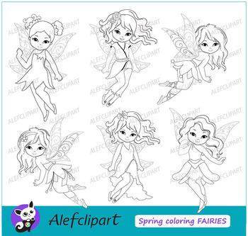 Coloring Cute Fairies Fairy Clipart  Digital Clip art Instant Download