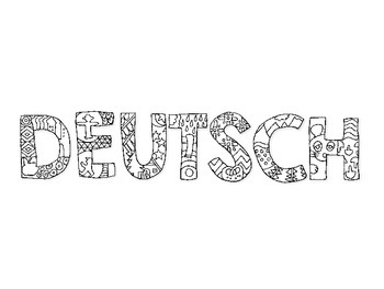 Coloring Deutsch Folder Cover Page for German Class