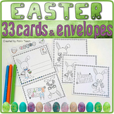 33 Coloring EASTER CARDS & envelopes ✀ Cut, color, glue, draw or write !