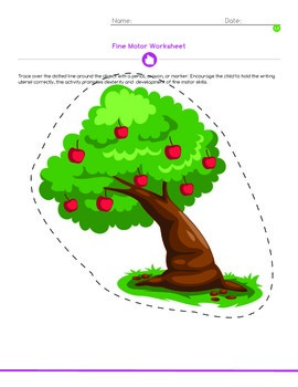 Coloring, Fine Motor, and Writing Worksheet: Apple tree