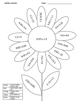 Coloring Flower-Decimals, All Operations - 4 pages