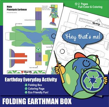 Coloring & Folding Toy Christmas GIFT BOX Activity Bundle PLANETPALS Earthman