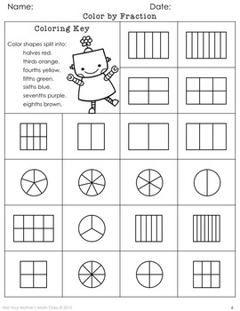Coloring Fractions by Not Your Mother39s Math Class TpT
