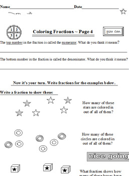 Coloring Fractions Introduction PLUS Fractions Fun Facts Quiz (Both Items)