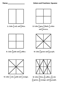 Coloring Fractions Worksheets