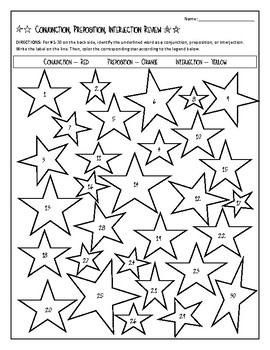 Coloring Fun - Conjunction, Preposition, Interjection Review