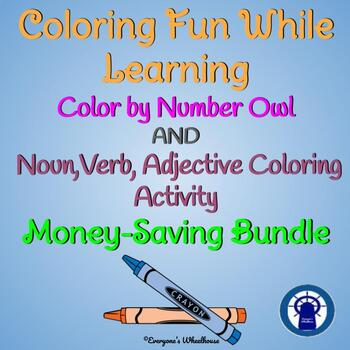 Coloring Fun While Learning Bundle: Color by Number and Parts of Speech Coloring