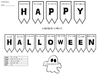 Coloring-Halloween-Integers,Negatives/Positives-4 sheets -