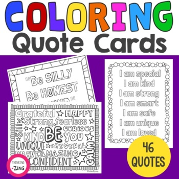 Inspirational Mindfulness Coloring Quote Cards Sweetcounselor Tpt