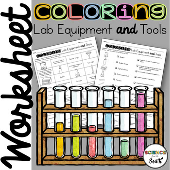 Coloring Lab Equipment and Tools Worksheet for Review or Assessment