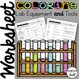 Coloring Lab Equipment and Tools Worksheet for Review or A