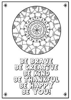 Coloring Mandala + quote
