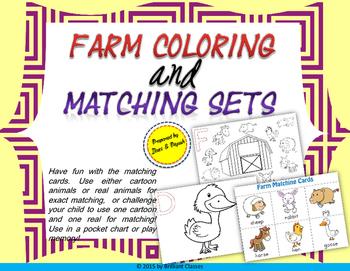 Coloring & Matching - Farm Animals