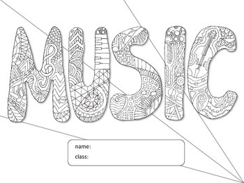 Coloring Music Folder Cover Page
