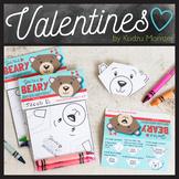 Coloring Origami Bear Valentine