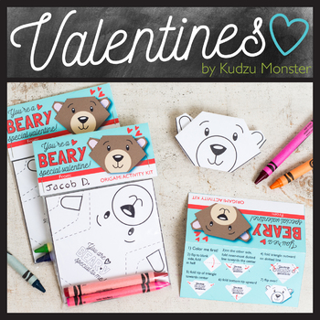 Coloring Origami Bear Valentine