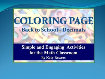 Coloring Page - Back to School  Decimals Review (Beginning of the Year)