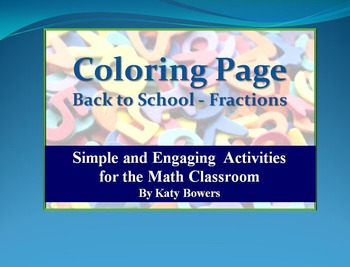 Coloring Page - Back to School Fractions Review (Beginning of School Year)