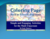 Coloring Page - Back to School Fractions Review (Beginning