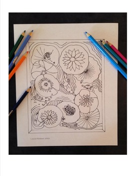 Coloring Page Busy Pond Hand Drawn Illustration Instant Do