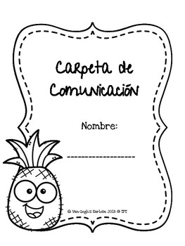 Coloring Page Communication Folder Covers (Pineapple Theme)
