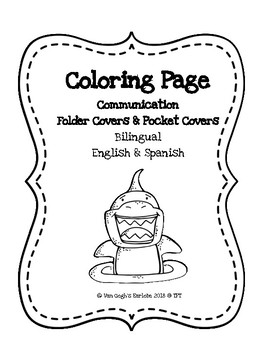 Coloring Page Communication Folder Covers (Shark Theme)