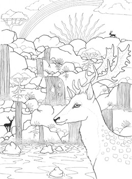 Coloring Page - Fallow Deer and Waterfall
