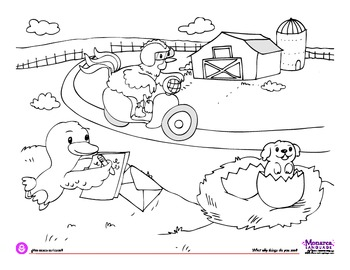 Coloring Page - Farm Animals 2 - What silly things do you see?