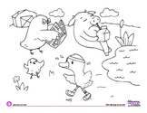 Coloring Page - Farm Animals - What silly things do you see?