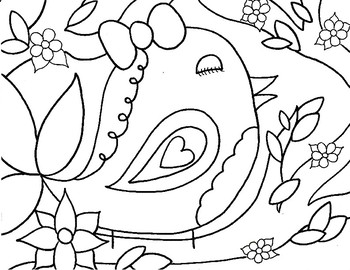 Coloring Page - Girl Bird