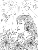 Coloring Page- Girl and Hummingbird