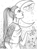 Coloring Page - Girl with Luna Moth
