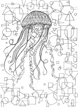 Coloring Page - Jellyfish with Geometric Background