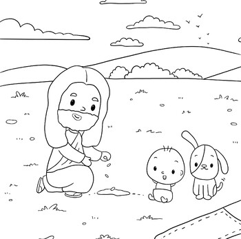 Jesus Planting Sonflower Seeds- Coloring Page