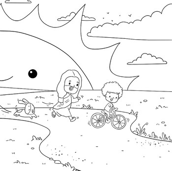 Jesus And Boy Bike Riding- Coloring Page