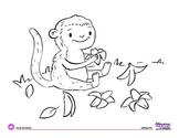 Coloring Page: Jungle Animals: Monkey & Bananas