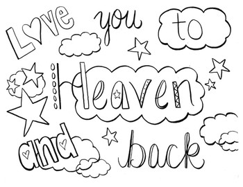Coloring Page - Love you to heaven and back