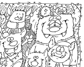 Coloring Page ~ Monsters Bedtime