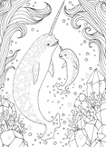Coloring Page - Narwhal Mommy and Baby