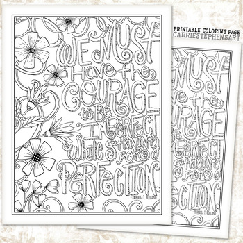 Coloring Page Printable, Courage to be Imperfect