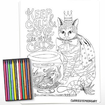 It is a photo of Cat Printable regarding mandala