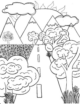Coloring Page - Road to Mountains