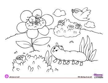 Coloring Page - Springtime - What silly things do you see?
