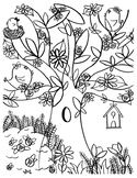 Coloring Page - Tree with Birds