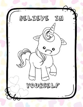 Coloring Page Unicorn Believe in Yourself