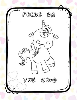 Coloring Page Unicorn Focus on the Good