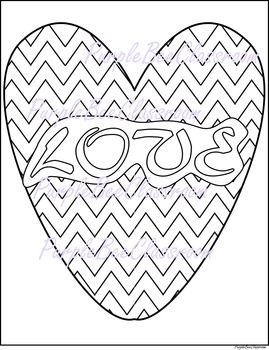 "Valentine's Day Coloring Page #2-Chevron Heart ""LOVE"""
